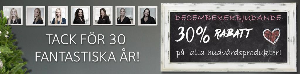 Decemberkampanj - 30% rabatt på hudvårdsprodukter